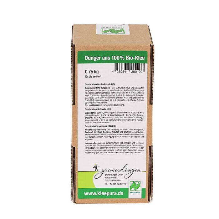 Biodünger Kleepura Doppelpack 0,75kg Seitenansicht